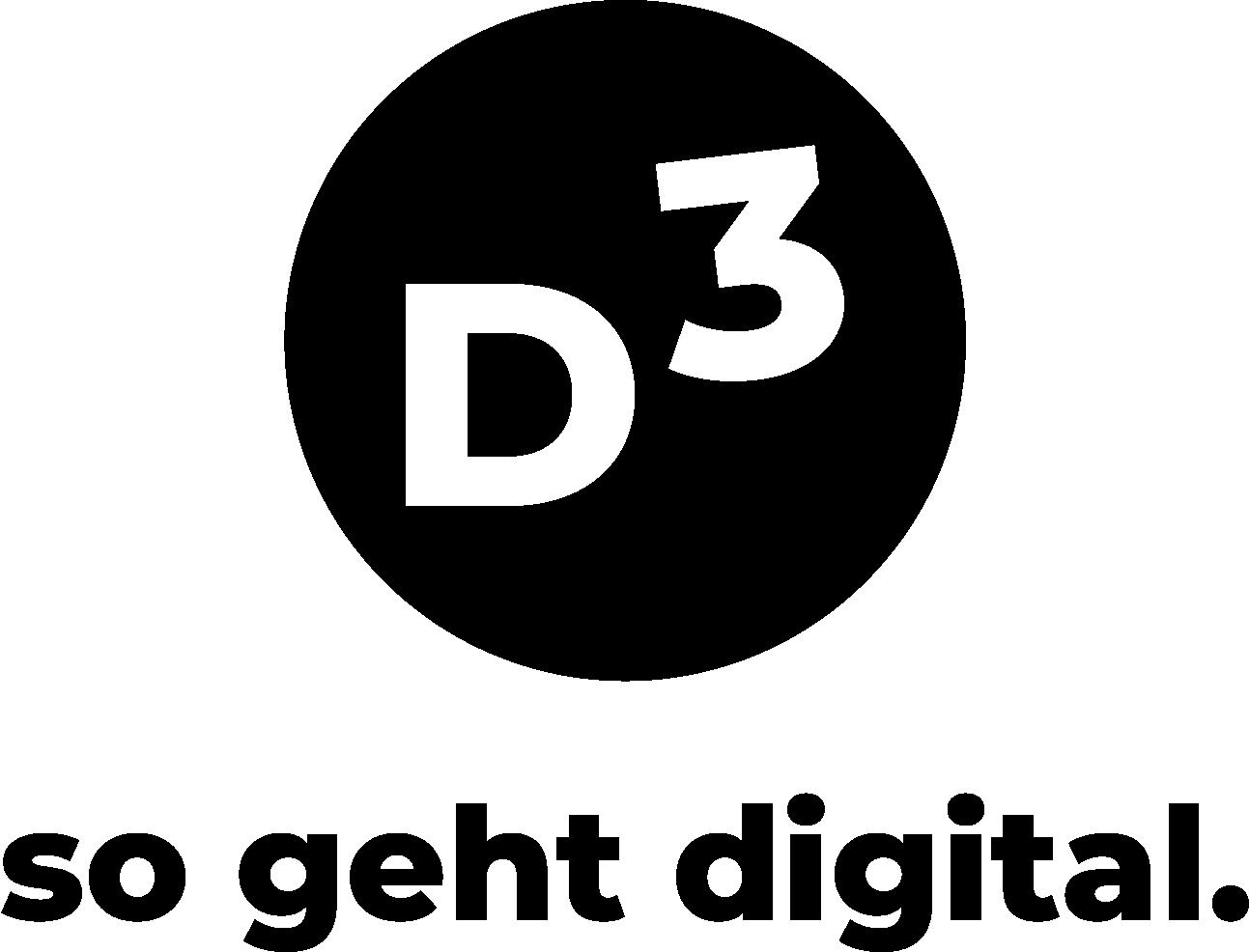In einem schwarzen Kreis steht D3. Darunter der schriftzug so geht digital. Das ist ein Logo.